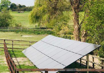Solar panel in field