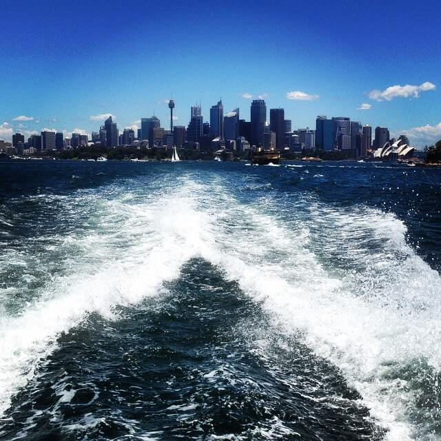 Sydney Harbour skyline by boat